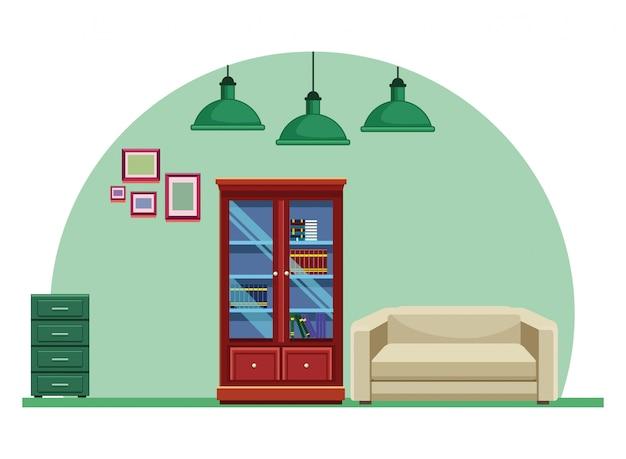 Bibliothèque woode et meubles de fauteuils canapés Vecteur Premium