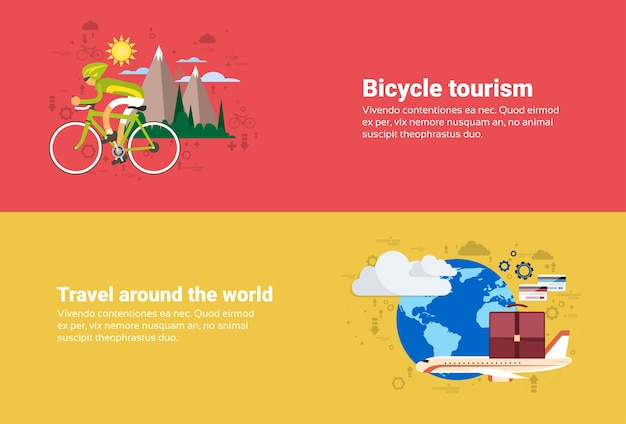 Bicycle travel tourisme de montagne, autour de world travel web bannière illustration vectorielle plane Vecteur Premium