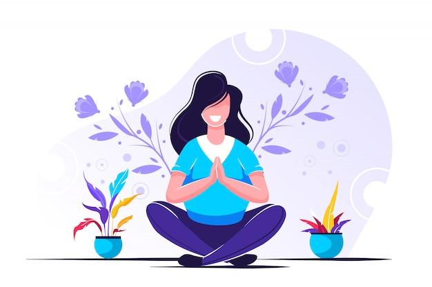 Bienfaits Du Yoga Sur Le Corps, L'esprit Et Les émotions Vecteur Premium