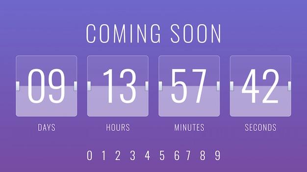 Bientôt à l'affiche illustration avec l'horloge du compte à rebours flip countdown Vecteur Premium