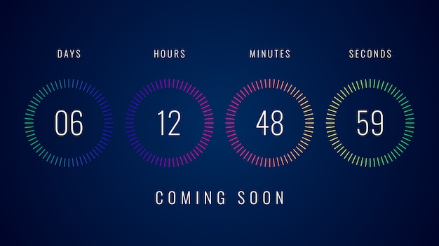 Bientôt une illustration avec une minuterie colorée avec compte à rebours numérique Vecteur Premium