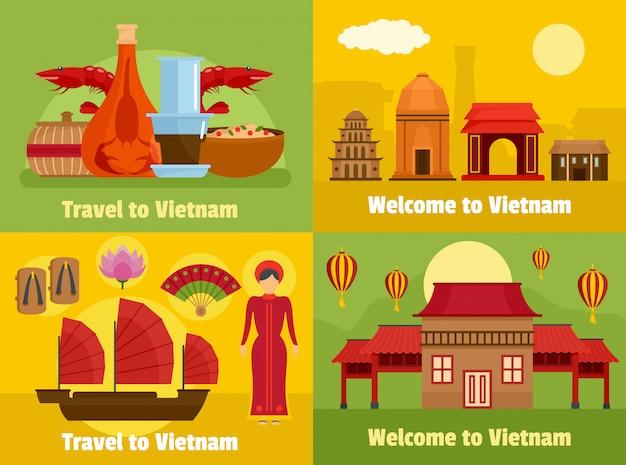 Bienvenu au vietnam Vecteur Premium