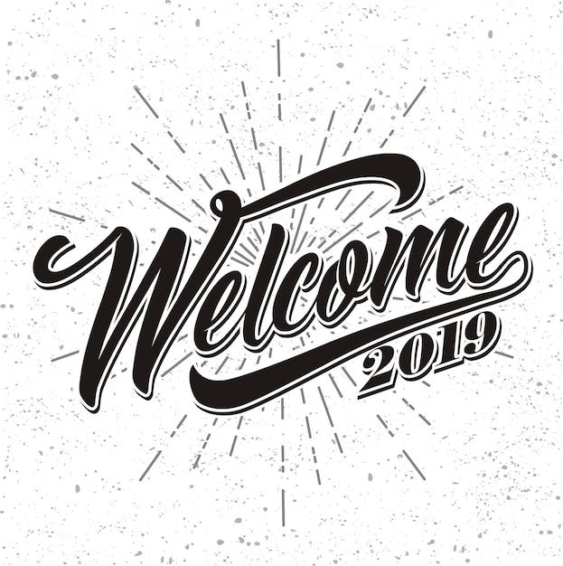 Bienvenue 2019 sur fond de sunburst Vecteur Premium