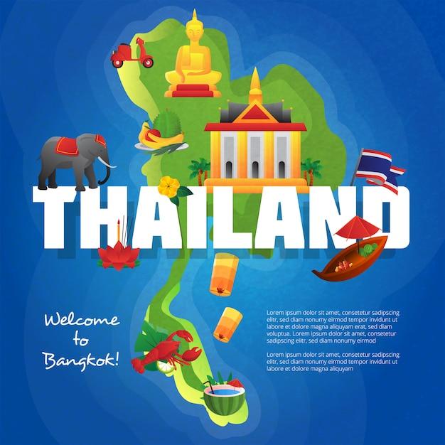 Bienvenue sur l'affiche de l'agence de voyage de bangkok avec les symboles culturels sur la carte de la thaïlande Vecteur gratuit