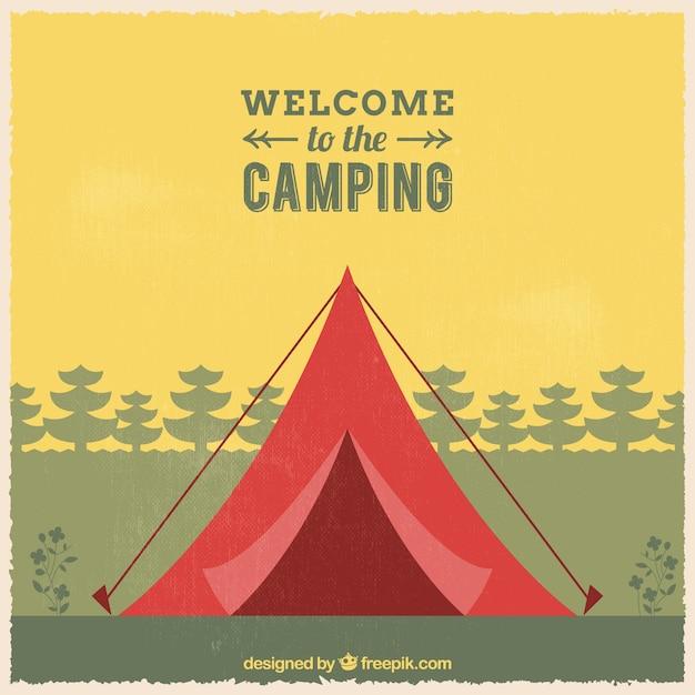 Bienvenue à l'arrière-plan de camping Vecteur gratuit