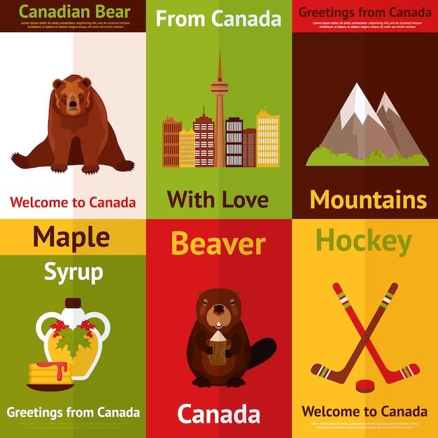 Bienvenue au canada illustrations ensemble. du canada avec amour. ours canadien, montagnes, castor, sirop d'érable. Vecteur Premium