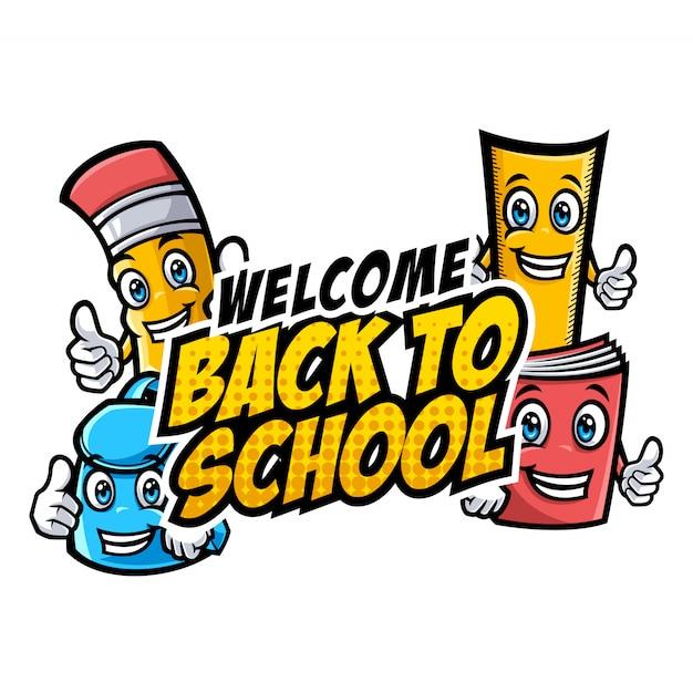 Bienvenue aux personnages de l'école avec des mascottes de dessins éducatifs amusants Vecteur Premium