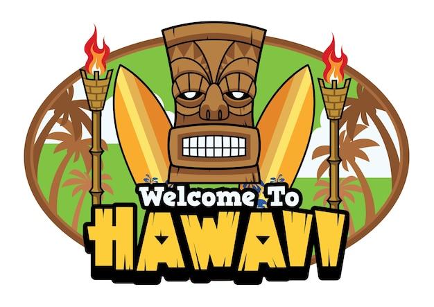 Bienvenue aux salutations hawaii tiki Vecteur Premium