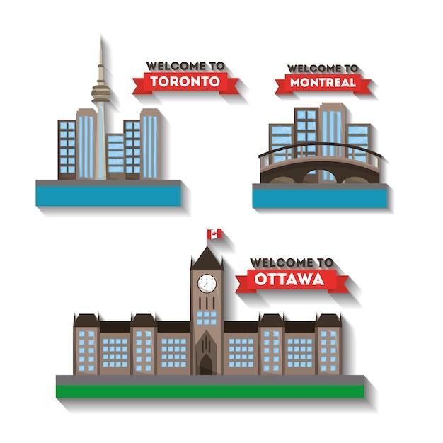 Bienvenue Aux Villes Du Canada Montreal Toronto Ottawa Vecteur Premium