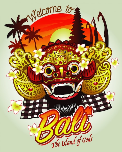 Bienvenue à bali design avec masque barong Vecteur Premium