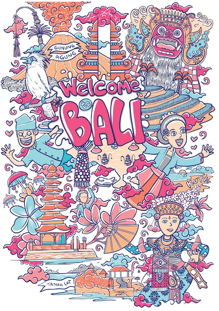 Bienvenue sur bali illustration Vecteur Premium