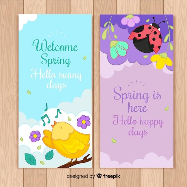 Bienvenue bannières de printemps Vecteur gratuit