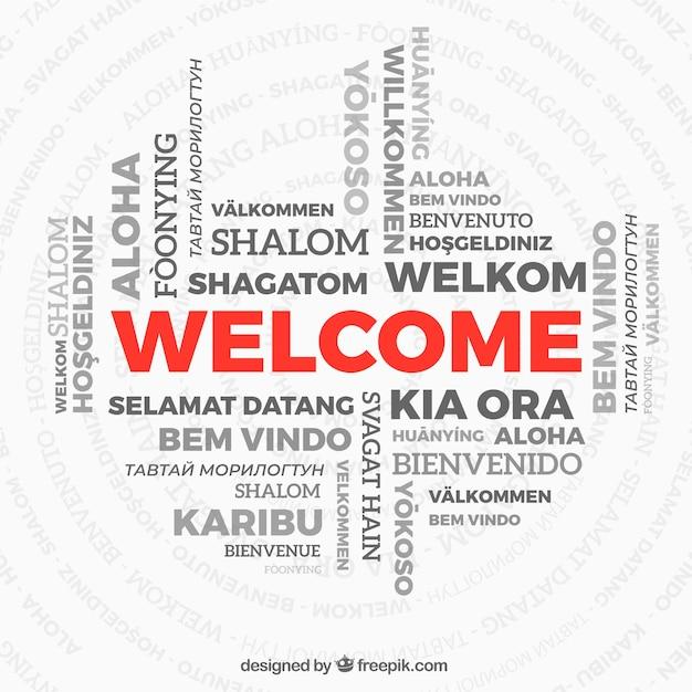 Bienvenue à la composition de mots dans différentes langues Vecteur gratuit