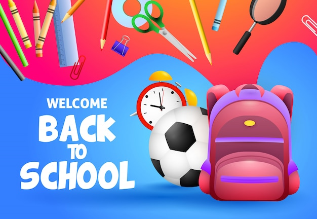 Bienvenue à la conception de l'école. ballon de football Vecteur gratuit