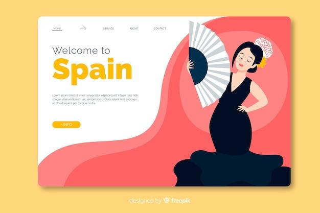 Bienvenue Dans Le Design Plat Du Modèle De Page De Destination De L'espagne Vecteur gratuit