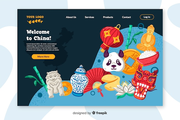 Bienvenue dans le design plat de la page de destination de la chine Vecteur gratuit