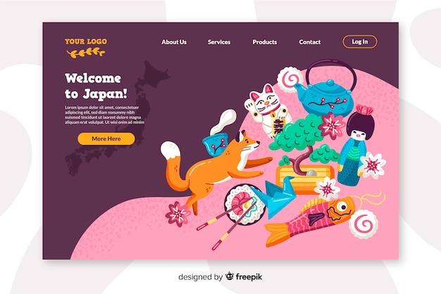 Bienvenue dans le design plat de la page de destination du japon Vecteur gratuit