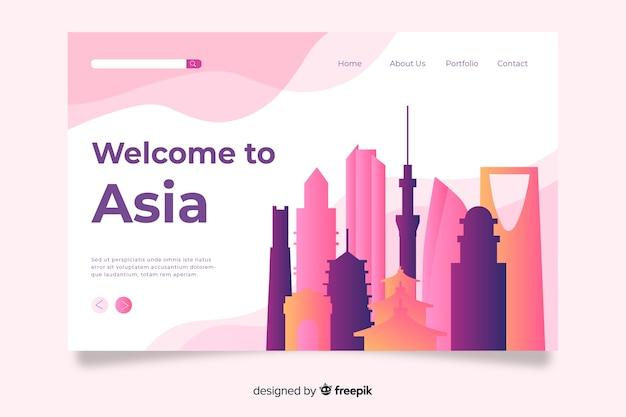 Bienvenue dans le modèle de page de destination en asie Vecteur gratuit