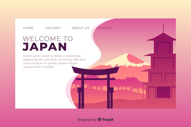 Bienvenue dans le modèle de page de destination du japon Vecteur gratuit