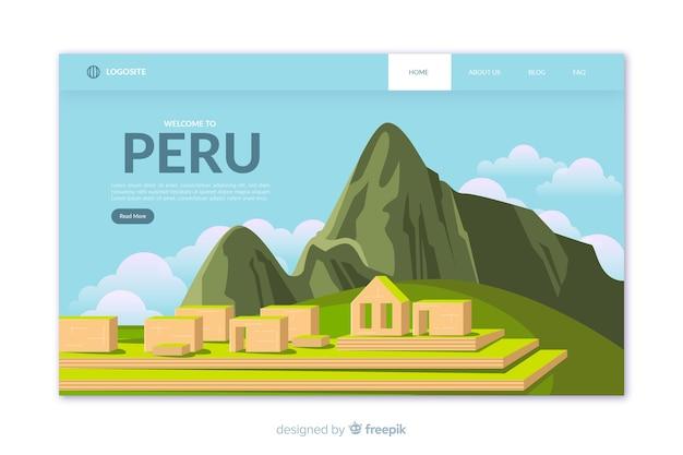 Bienvenue Dans Le Modèle De Page De Destination Du Pérou Vecteur gratuit