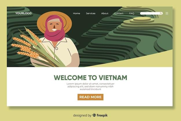 Bienvenue dans le modèle de page de destination du vietnam Vecteur gratuit
