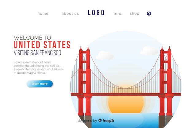 Bienvenue dans le modèle de page de destination usa Vecteur gratuit