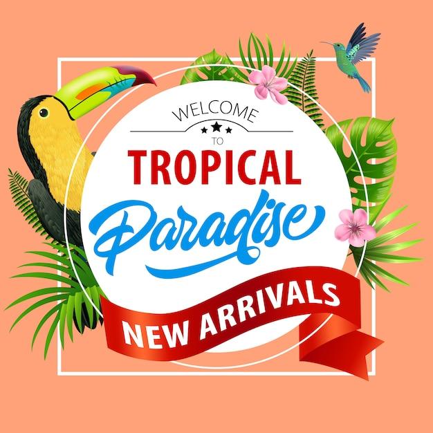 Bienvenue dans le paradis tropical, flyer nouveautés. fleurs roses, ruban rouge, feuilles Vecteur gratuit