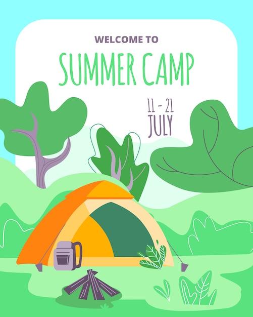 Bienvenue dans la tente, le sac à dos et le feu de camp de camp d'été avec des bûches dans la forêt profonde Vecteur Premium
