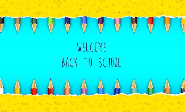 Bienvenue à l'école avec des crayons de couleur Vecteur Premium