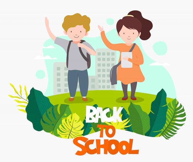 Bienvenue à L'école, écoliers Mignons. Vecteur Premium