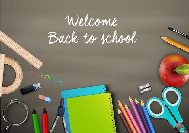 Bienvenue à l'école avec des fournitures scolaires Vecteur Premium