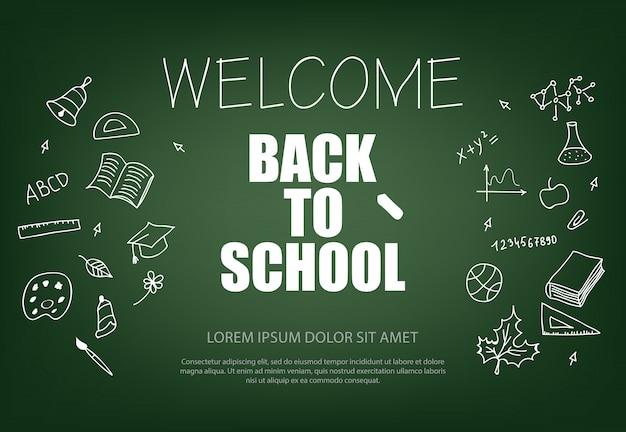 Bienvenue à L'école, Lettrage à La Craie Vecteur gratuit