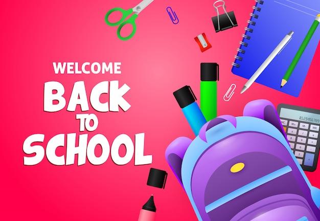 Bienvenue à l'école lettrage avec sac à dos et papeterie Vecteur gratuit