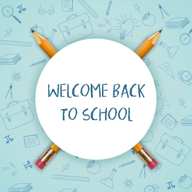 Bienvenue à l'école avec signe rond et crayons Vecteur Premium