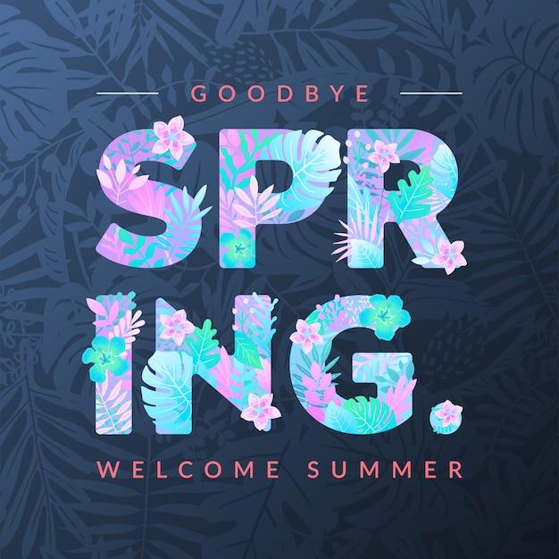 Bienvenue en été, au goodbye printemps Vecteur Premium