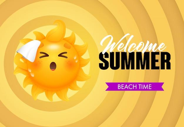 Bienvenue été, lettrage de l'heure de la plage avec le personnage de dessin animé du soleil Vecteur gratuit