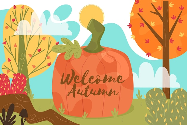 Bienvenue Fond D'automne Vecteur gratuit