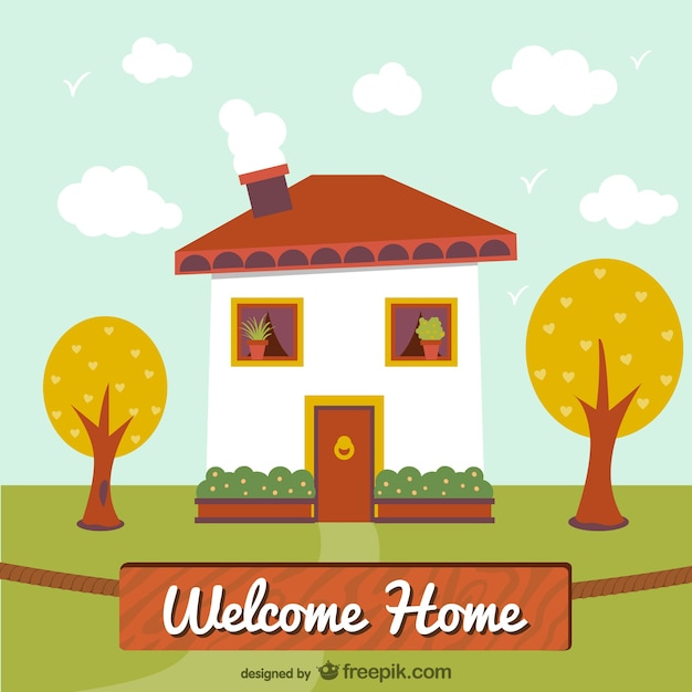 Bienvenue illustration maison t l charger des vecteurs for Back to home pics