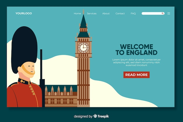 Bienvenue Sur Le Modèle De Page De Destination En Angleterre Vecteur Premium