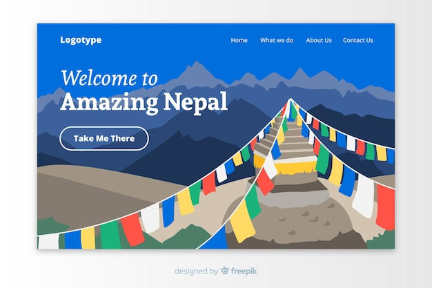 Bienvenue sur le modèle de page de destination du népal Vecteur gratuit