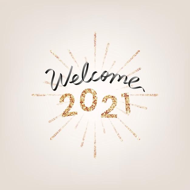 Bienvenue En Or Scintillant 2021, Carte De Voeux De Nouvel An Vecteur gratuit
