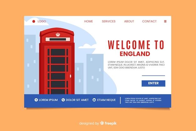 Bienvenue sur la page d'accueil d'angleterre Vecteur gratuit