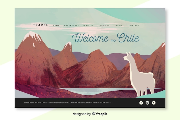 Bienvenue sur la page d'accueil de chili Vecteur gratuit