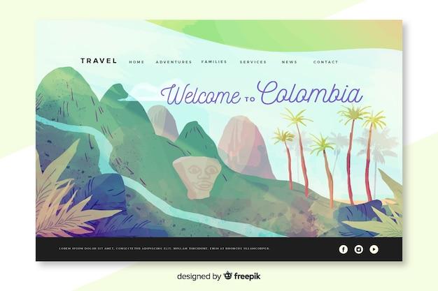 Bienvenue Sur La Page De Destination Colombie Vecteur gratuit