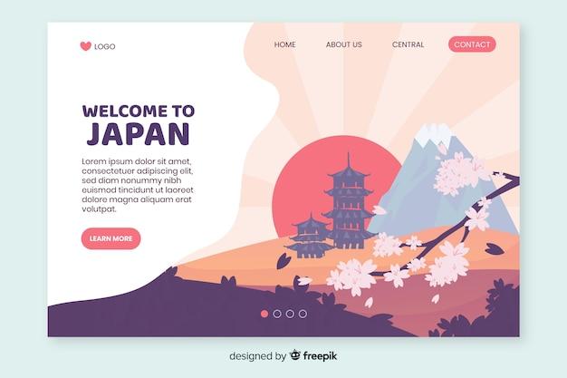 Bienvenue Sur La Page De Destination Du Japon Vecteur Premium