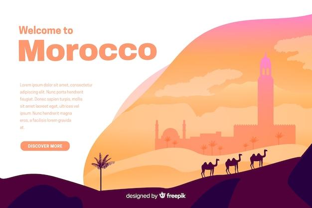 Bienvenue sur la page de destination du maroc avec des illustrations Vecteur gratuit
