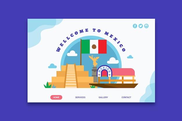 Bienvenue sur la page de destination du mexique Vecteur gratuit