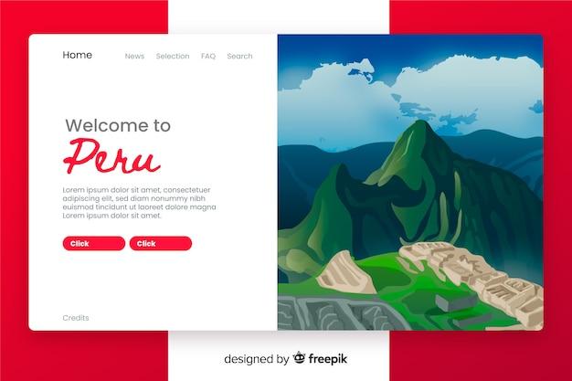 Bienvenue Sur La Page De Destination Du Pérou Vecteur gratuit