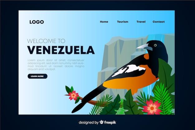 Bienvenue sur la page de destination du venezuela Vecteur gratuit
