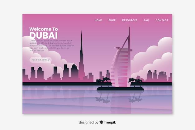 Bienvenue Sur La Page De Destination De Dubaï Vecteur gratuit